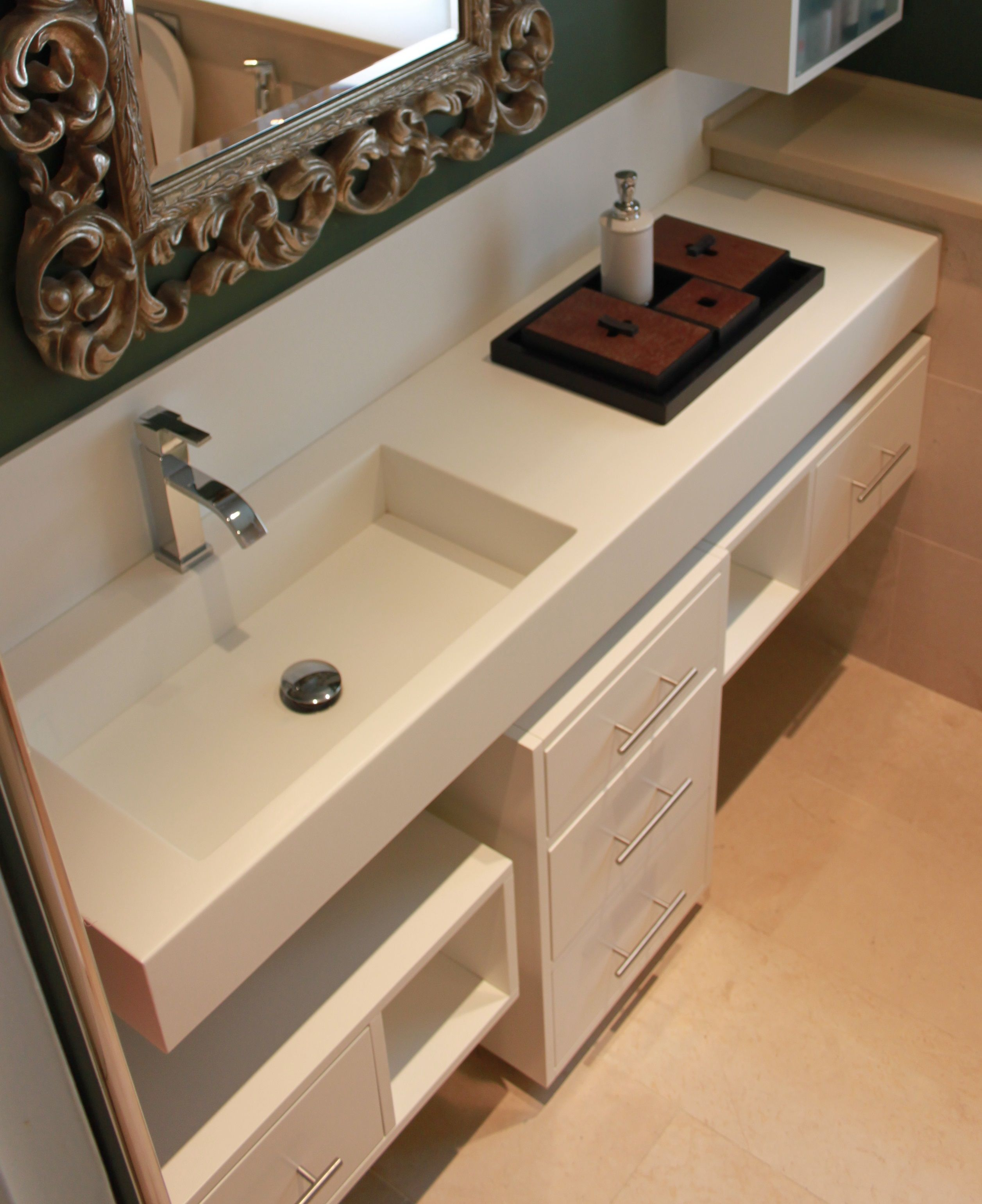 Low cabinet in mdf white matt finishing and top in Corian solid ...