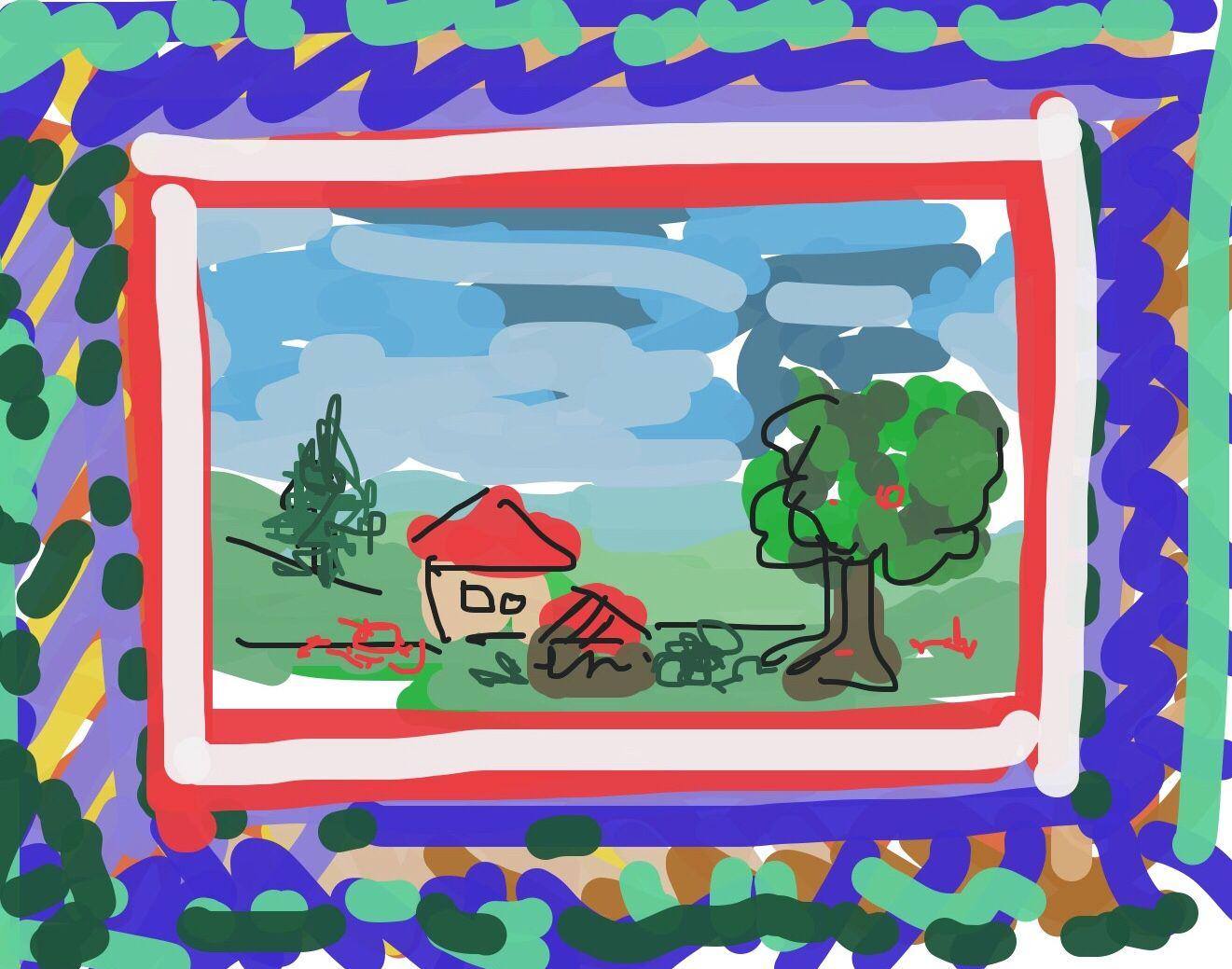 Idee ein Bild zu gestalten: Landschaft malen, Bild mit Klebeband umrahmen, dann außen einen Rahmen malen - Wirkung ist dreidimensional!