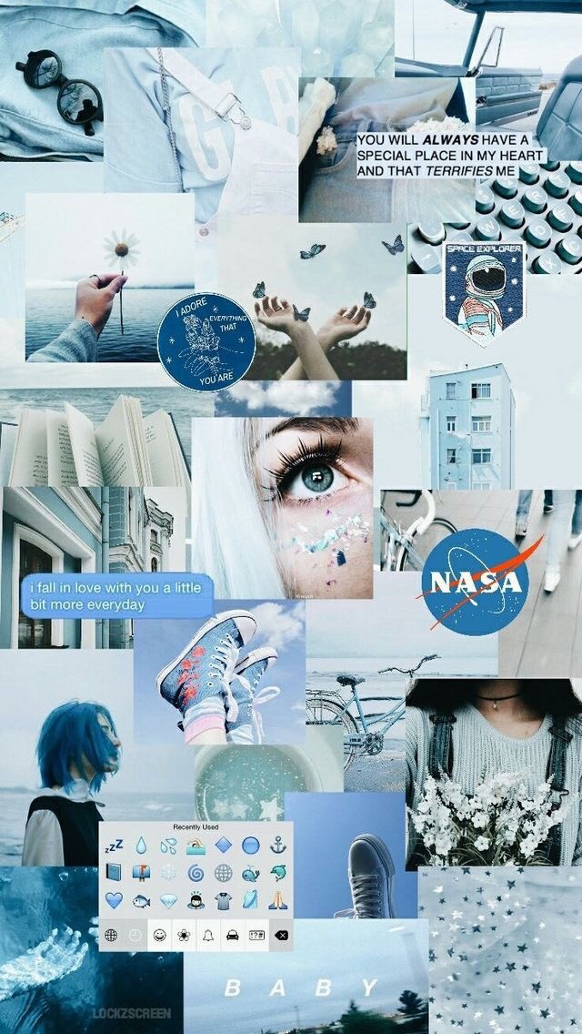 Blue Aesthetic Collage Photo Wallpapers Iphone Cute