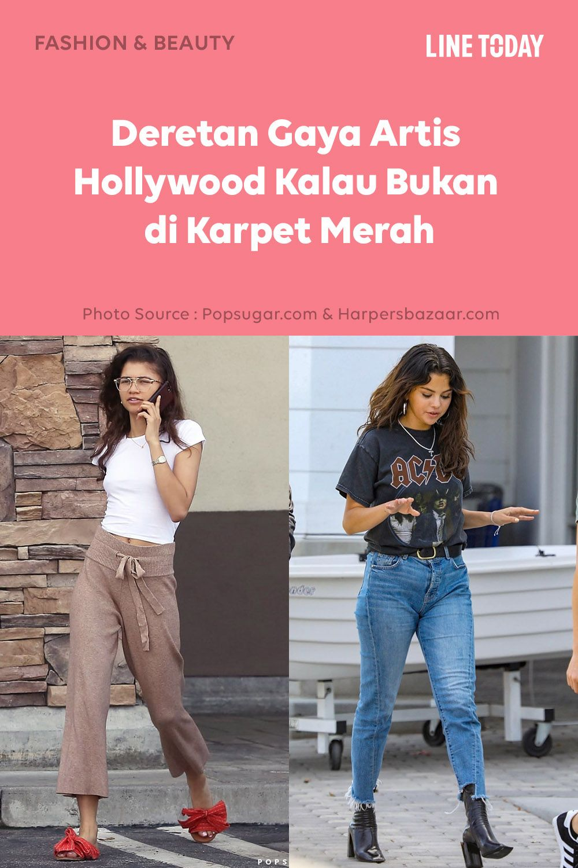 Beda Banget Begini Gaya Artis Hollywood Kalau Bukan Di Karpet Merah Di 2020 Model Pakaian Artis Hollywood Hollywood