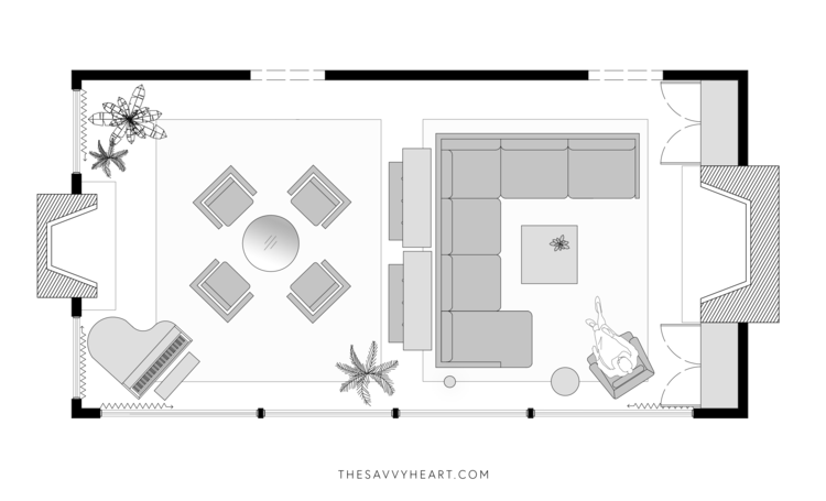 5 Furniture Layout Ideas For A Large Living Room With Floor Plans The Savvy Heart Living Room Furniture Layout Living Room Floor Plans Furniture Placement Living Room