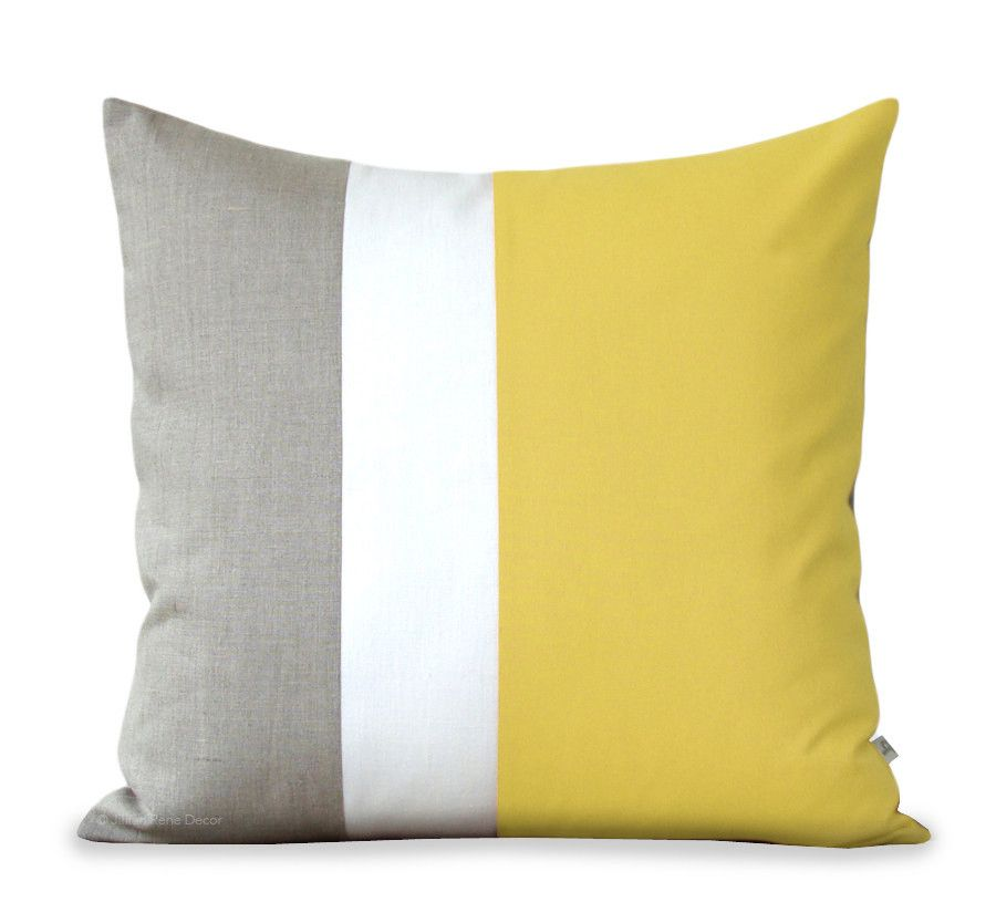 Colorblock Pillow - Yellow/Cream/Natural | Schnittmuster, Nähen und ...