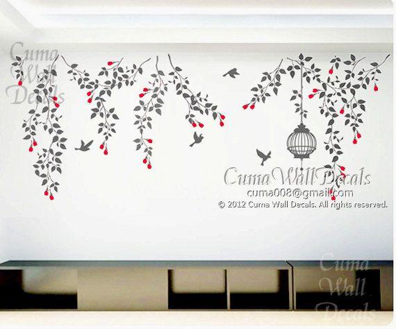 naturaleza árbol pared etiqueta de la pared peor rama vivero pared calcomanía vid pared calcomanía niños-vid flores con jaula de pájaros y a...