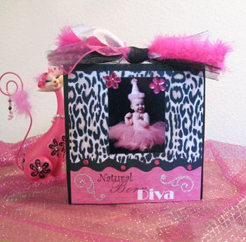 Diva Leopard Hot Pink Block Picture Frame Wood Frame Photo Frame
