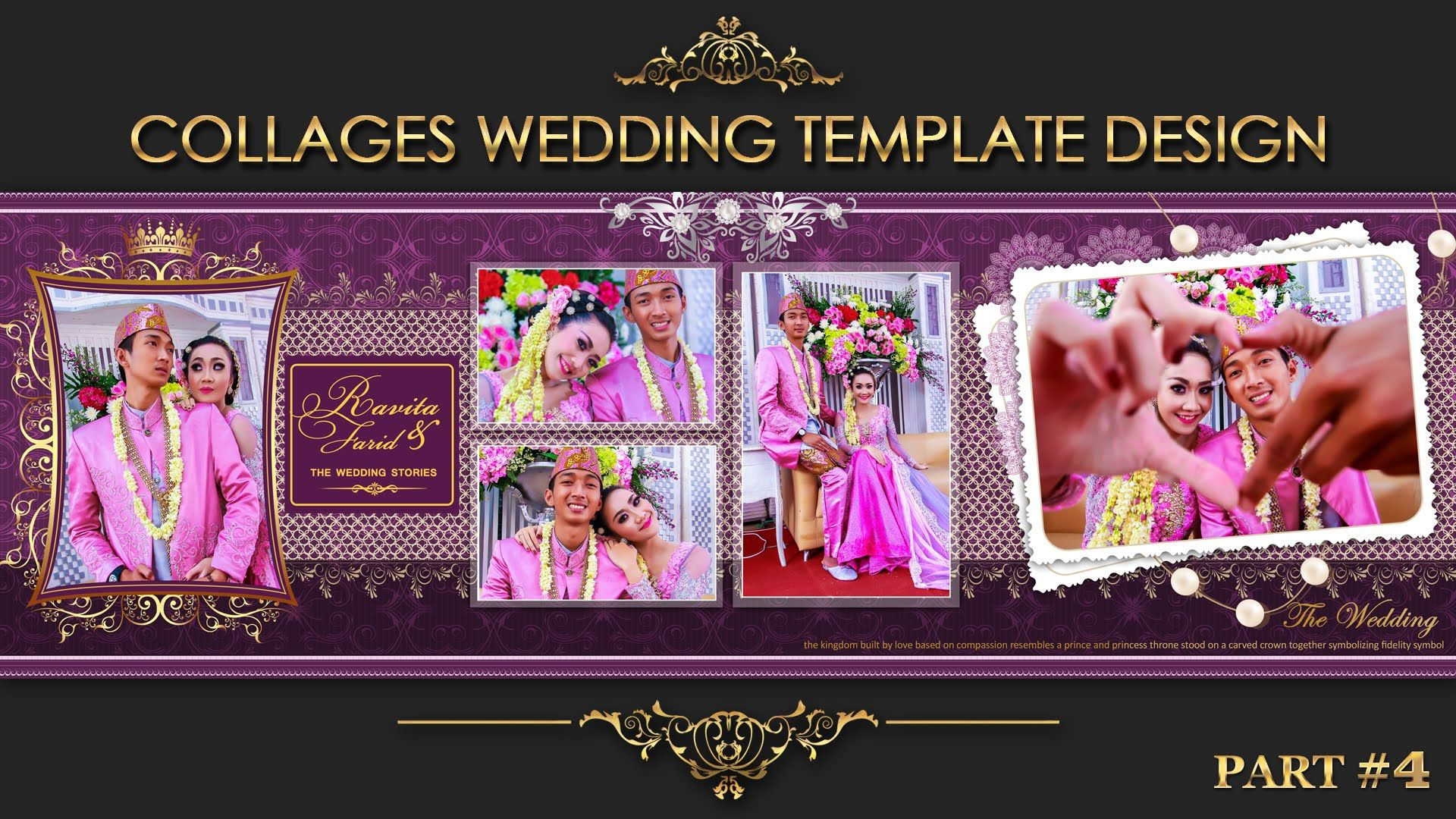 collage wedding album 4 for psd template view in description text