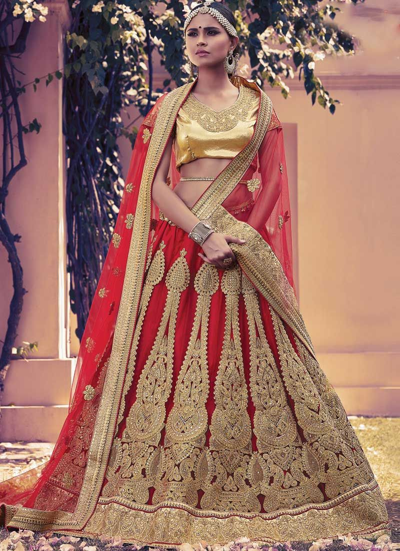 32146cc78f Red Net Embroidery Sequins Work Stone Work Party Wear Designer Lehenga Choli