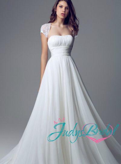 JW14098-simple-plain-ruched-empire-chiffon-flowy-beach-wedding ...