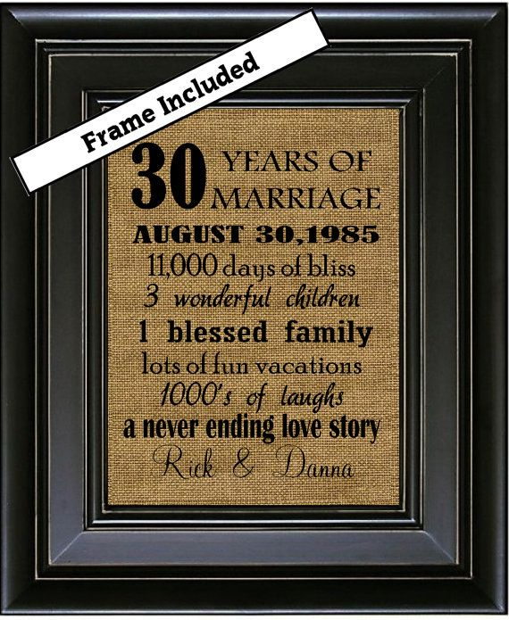 Framed 30th Wedding Anniversary Gift Gifts 30 Years Of Marriage For Pas Arts And Crafts