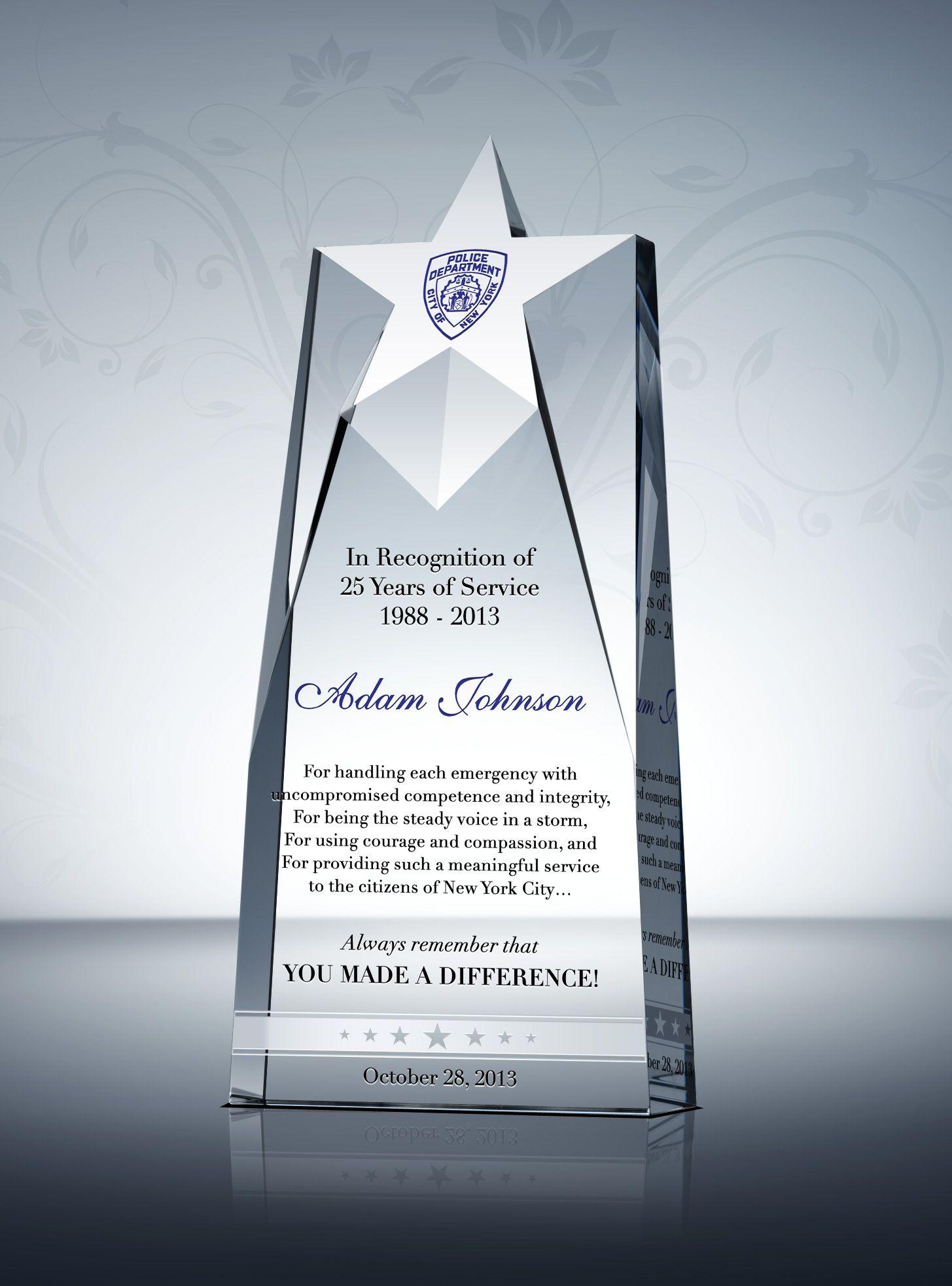 Unique Police Service Awards And Appreciation Quotes Service Awards Award Plaques Recognition Plaques