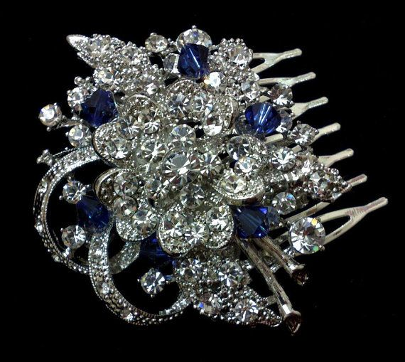 Something Blue Bridal Hair Comb, Sapphire Blue Hair Jewelry, Crystal Headpiece, Custom Color Accents, BLUE BOUQUET