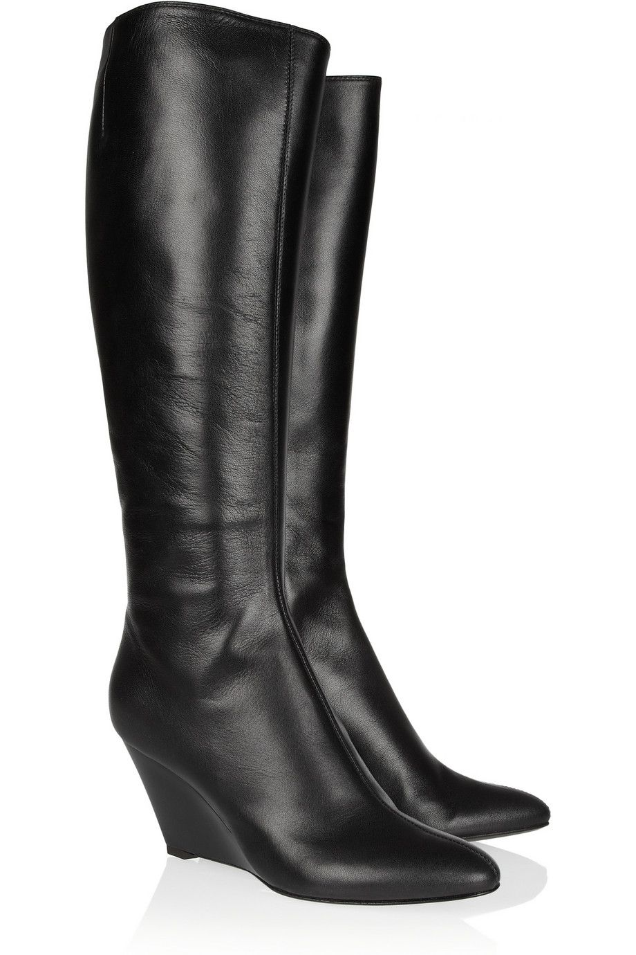 41b3ea50819 The perfect everyday boot. Leather wedge knee boots by Giuseppe Zanotti.   FashionMath