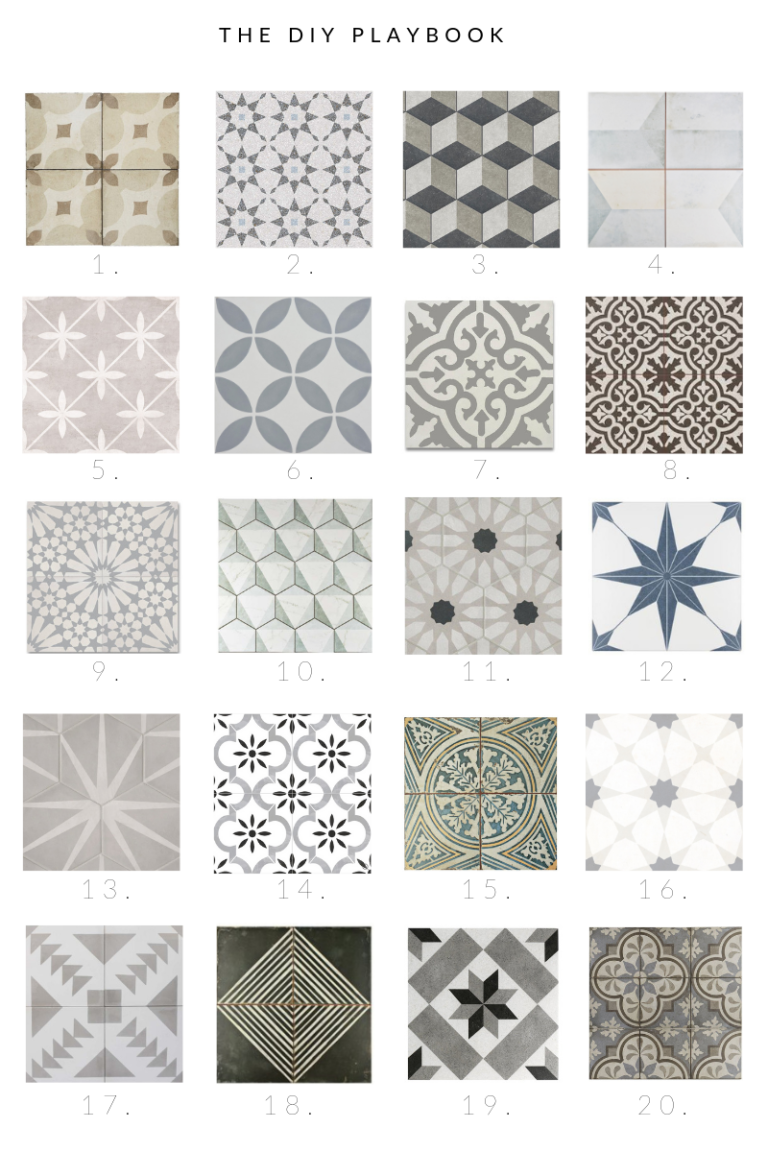 20 patterned floor tiles that would work well in your laundry or mudroom. Love these patterns to add some color and fun to any space. Come choose your favorite tile for your space! #floortile #cementtile #bedrosiantile #patterntile #tile #laundryroom