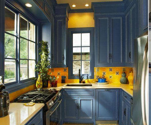 Dark Blue Kitchen Cabinets In Halifax Nova Scotia Yellow Kitchen Walls Yellow Kitchen Decor Interior Design Kitchen