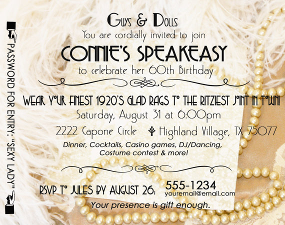 Gatsby Roaring 20s Speakeasy Birthday Invitation By