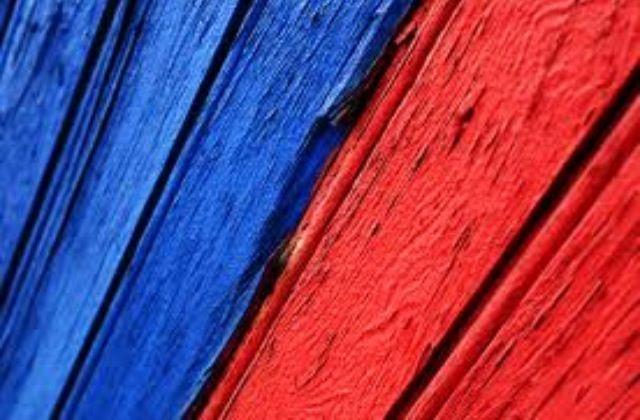 Warm koud contrast: rood is warme kleur en blauw is een koude kleur