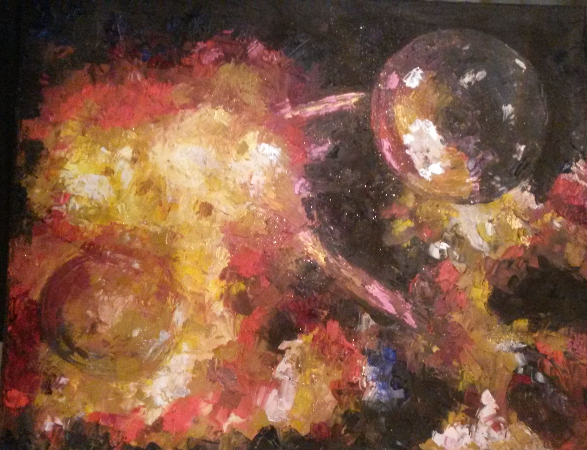 'Mercury,' inspired by Holst's Planet Suite. Oil, metallic paint and glitter on canvas.