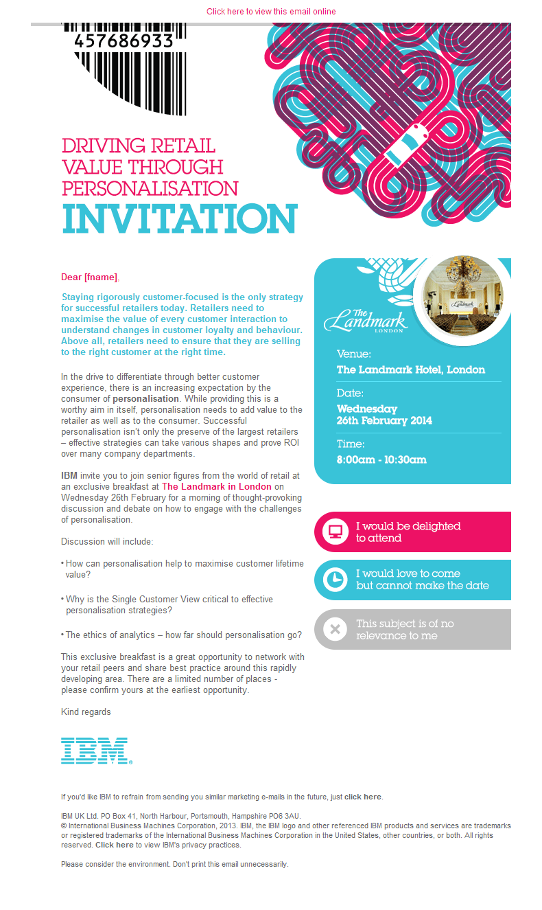 IBM invitation email design | Email Marketing | Pinterest | Email ...