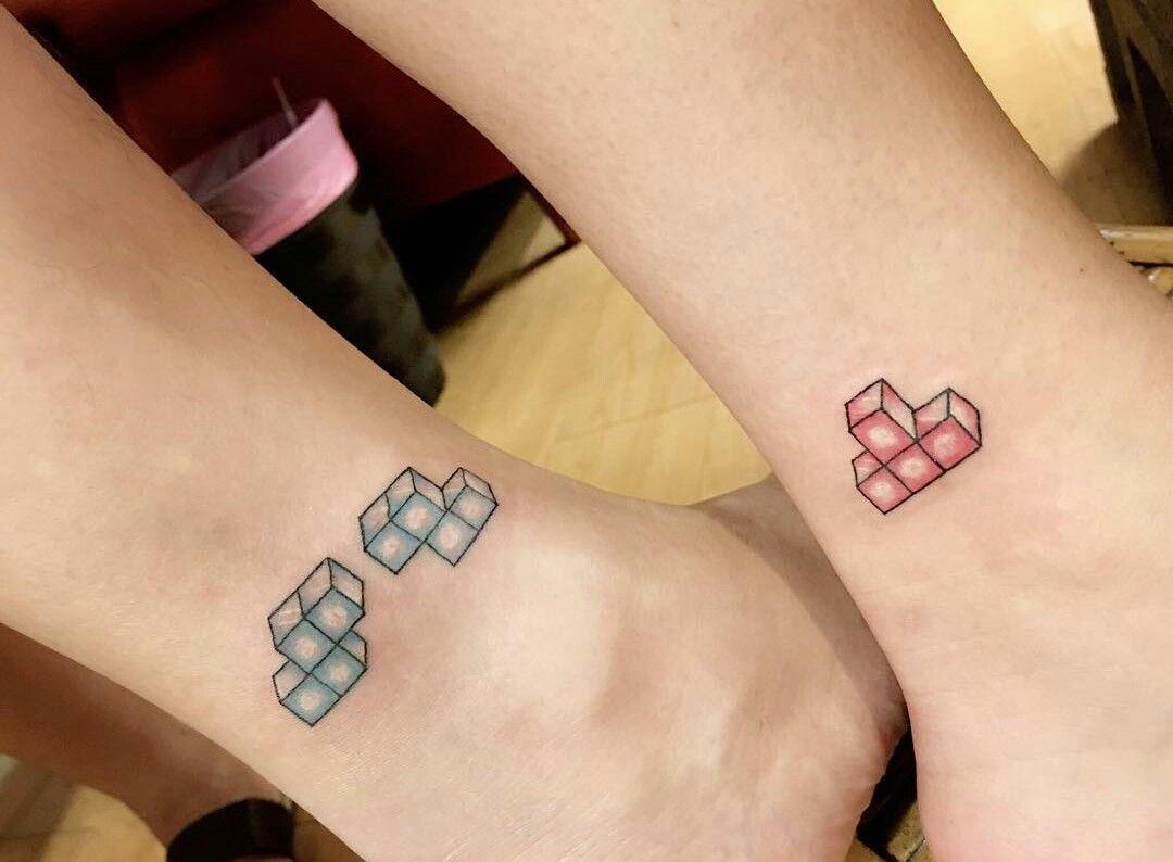 Resultado de imagen para couples tattoo tetris