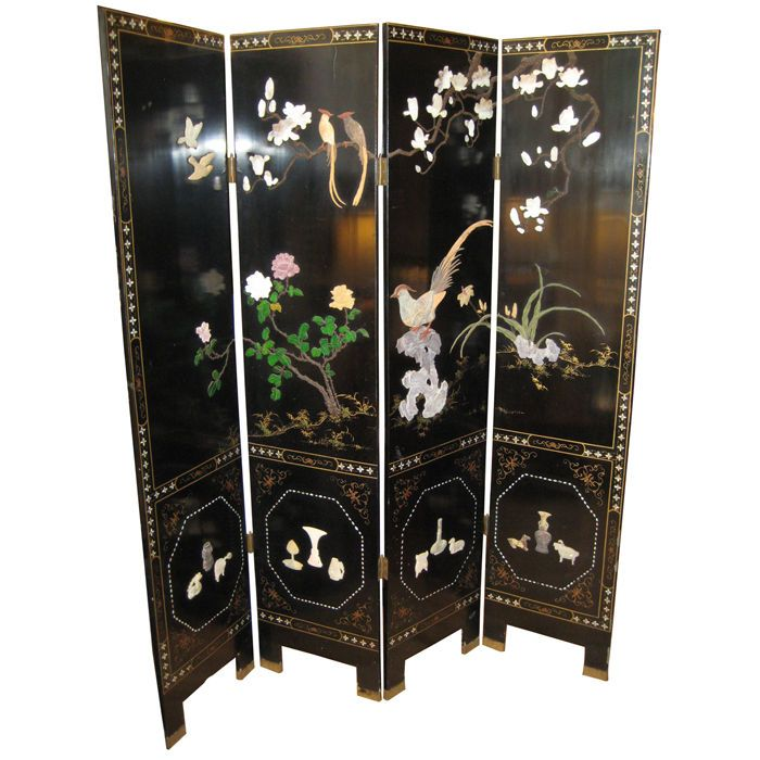Dual Sided 4 Panel Asian Screen, Japanese Room Divider - Dual Sided 4 Panel Asian Screen, Japanese Room Divider Japanese