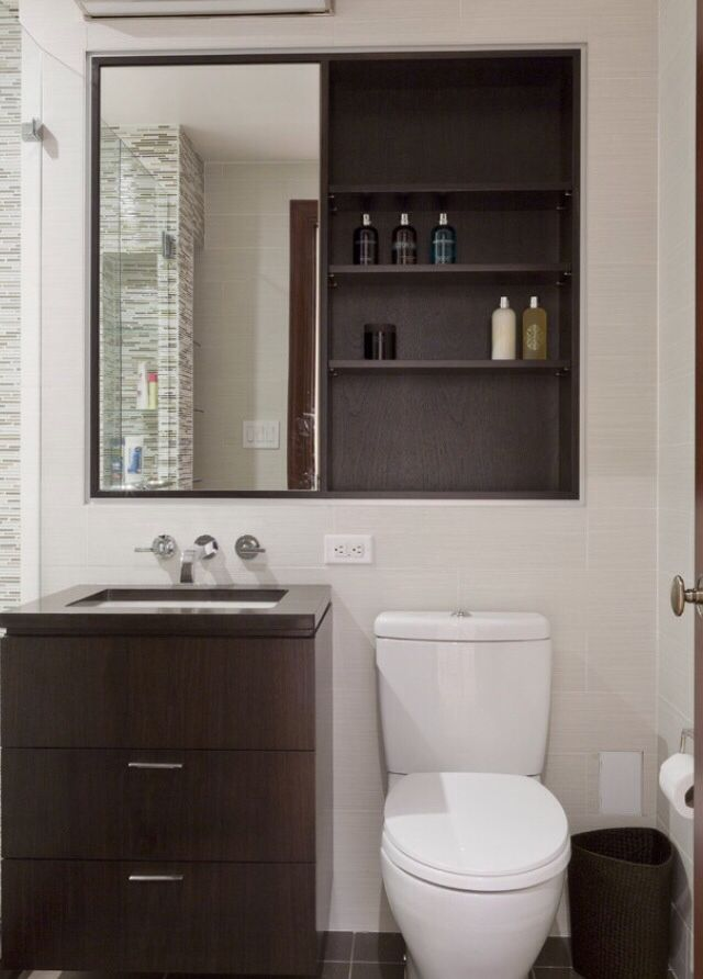 False Wall To Enable Recessed Cabinet Behind Mirror And Inset Display Shelving Above Wall Hung T Bathroom Cabinets Designs Small Bathroom Bathroom Design Small