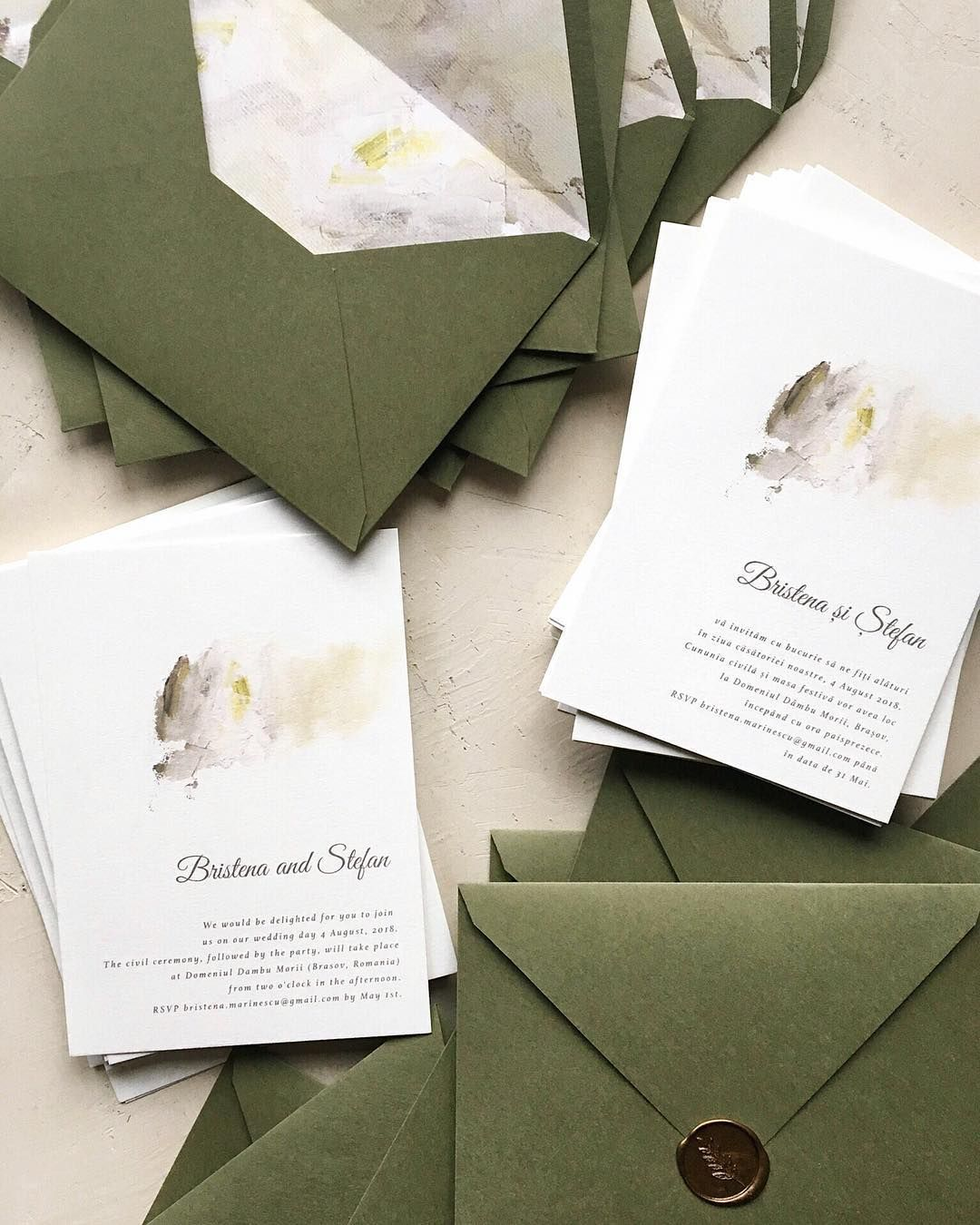 Minimal wedding invitation with custom envelope liner and wax seal ...