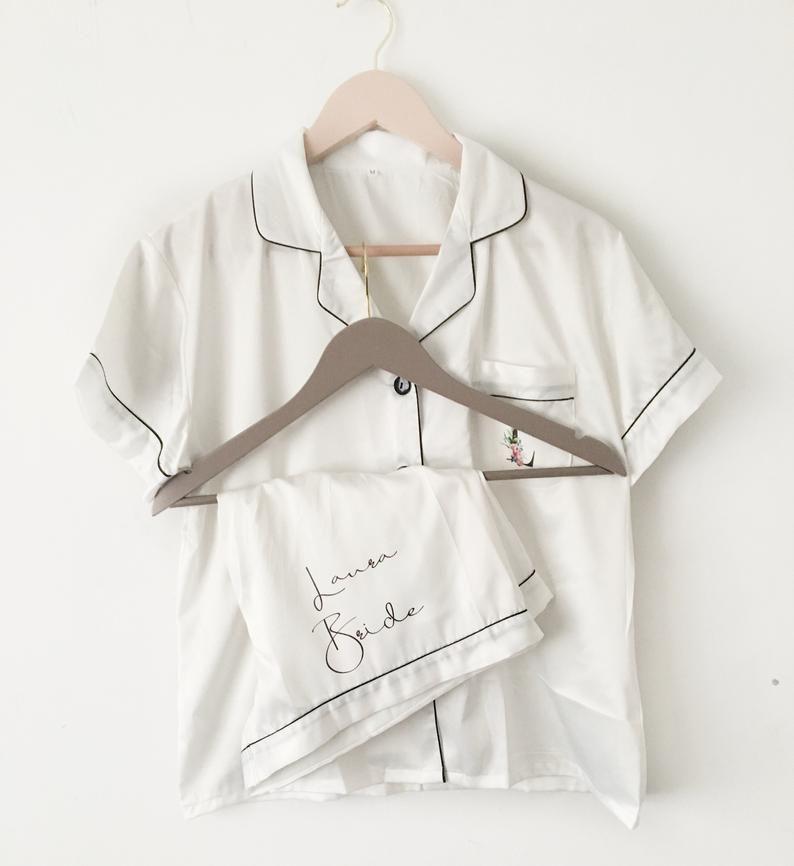 Personalised Adult Silky Pyjamas Wedding Honeymoon Gift Bridal PJs Pyjama Set