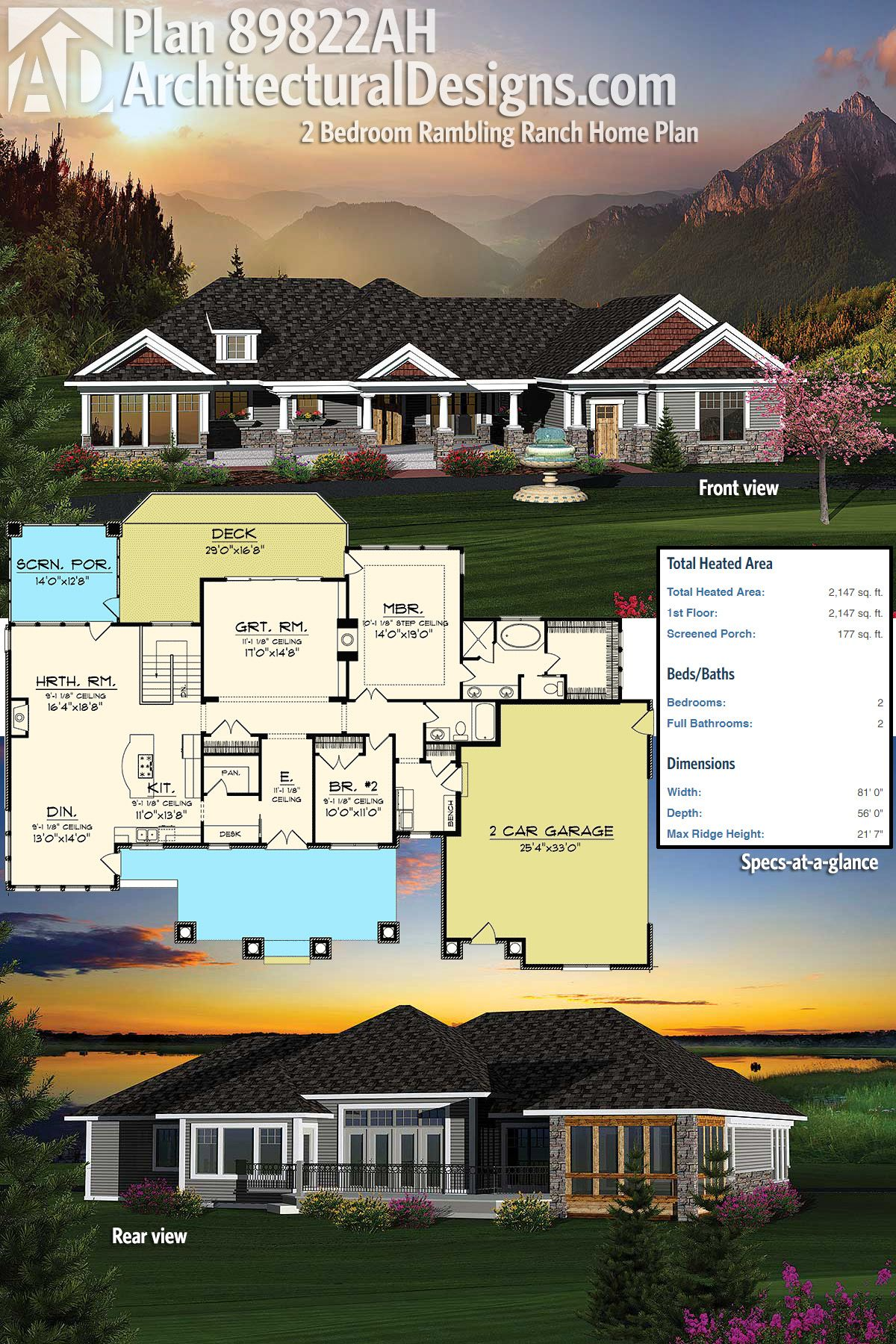 Architectural Designs 2 Bed Rambler House Plan