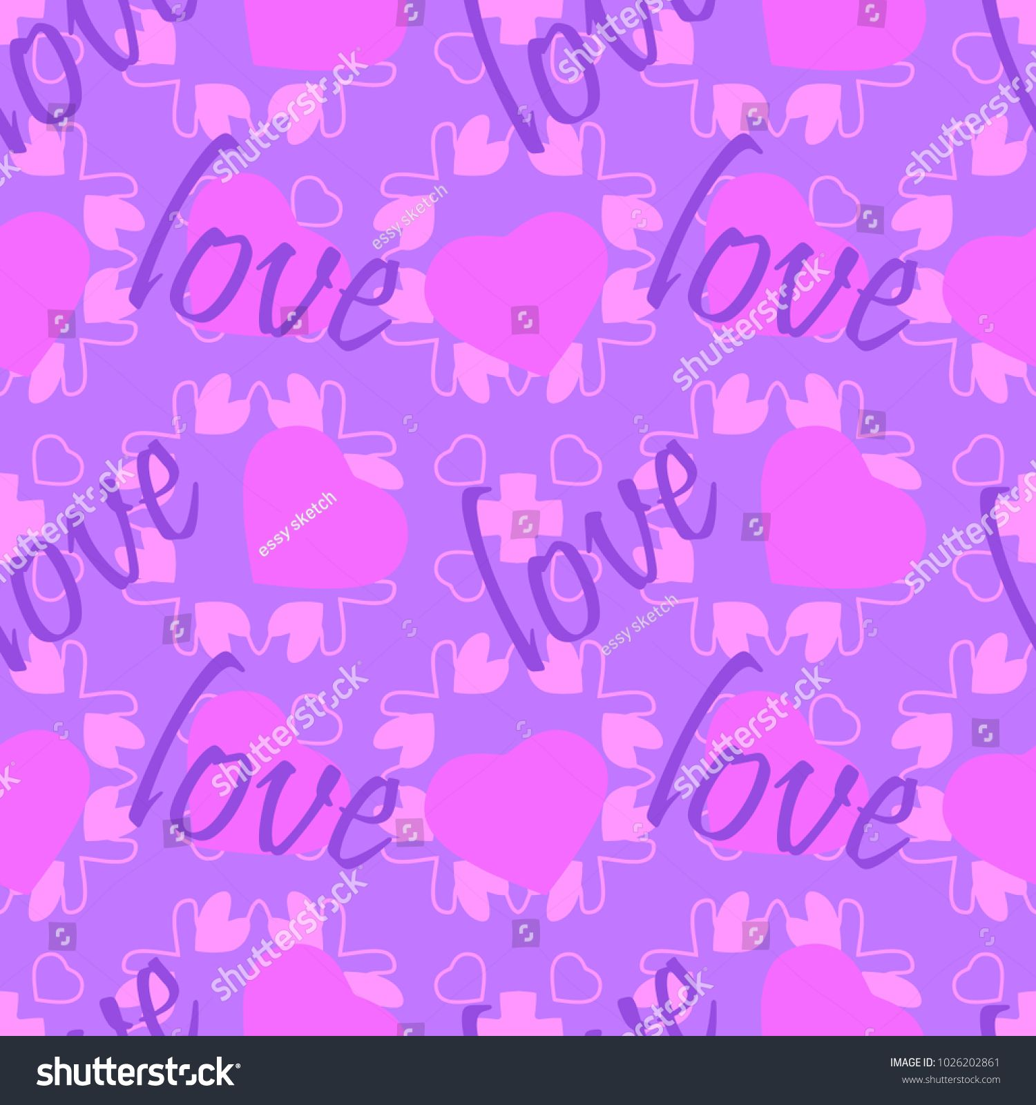 seamless pattern word love with hearts pink and purple art