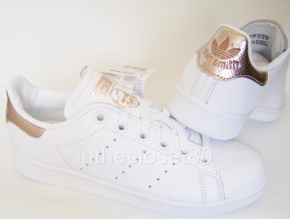 Adidas Stan Smith White Rose Gold Metallic Womens Girls Trainers BB1434   adidas  Trainers 2ed1ca3317d6
