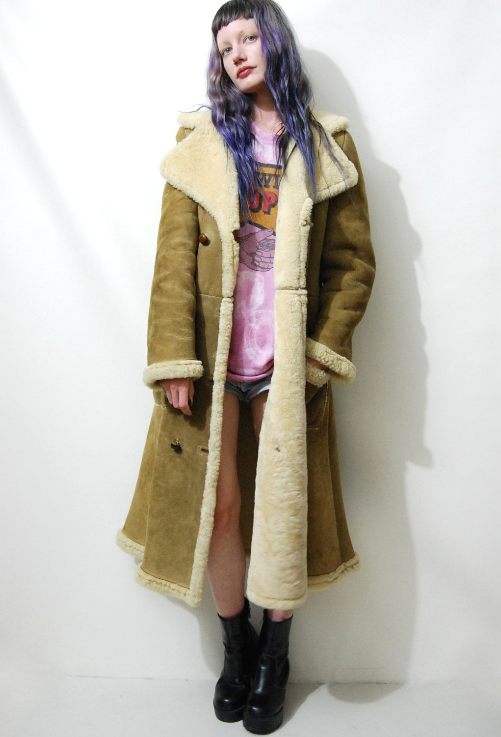 70s Vintage SHEARLING Coat Sheepskin Suede Leather Wool Tan Long ...