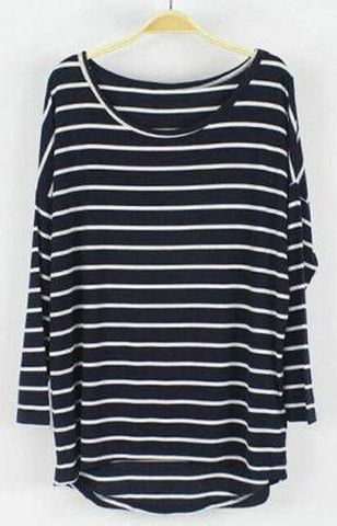 Casual Oversized Long Sleeve Striped T-Shirt (More colors available) – Trendy Road