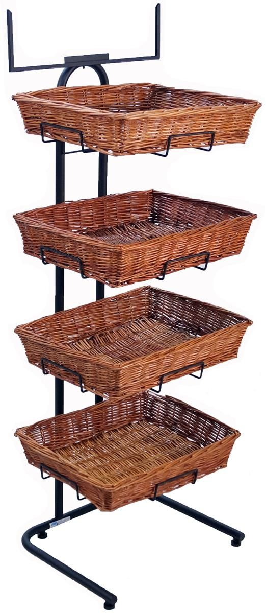 4 Tier Basket Stand, Sign Frame, Wicker - Black | Display and Store