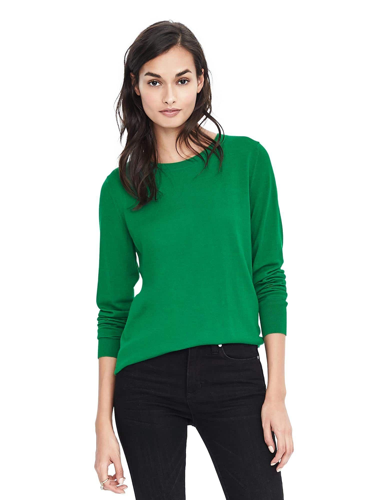 96affc6ed0 Merino Crew Sweater in Kelly Green