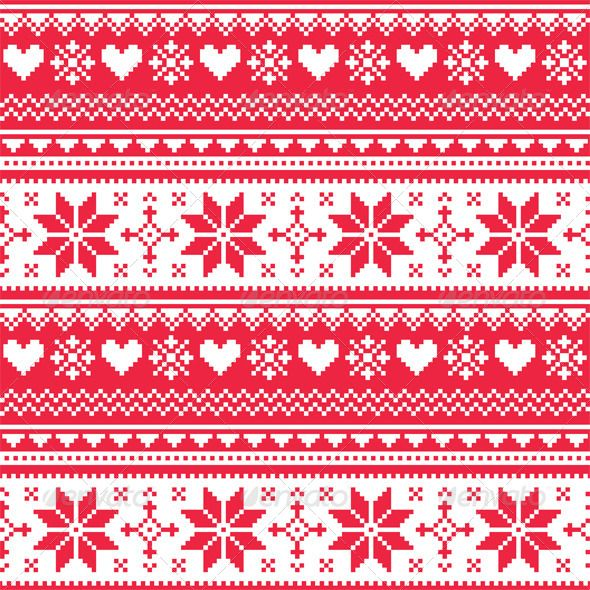Nordic Seamless Knitted Christmas Red Pattern Red Heart Patterns Red Christmas Scandinavian Pattern