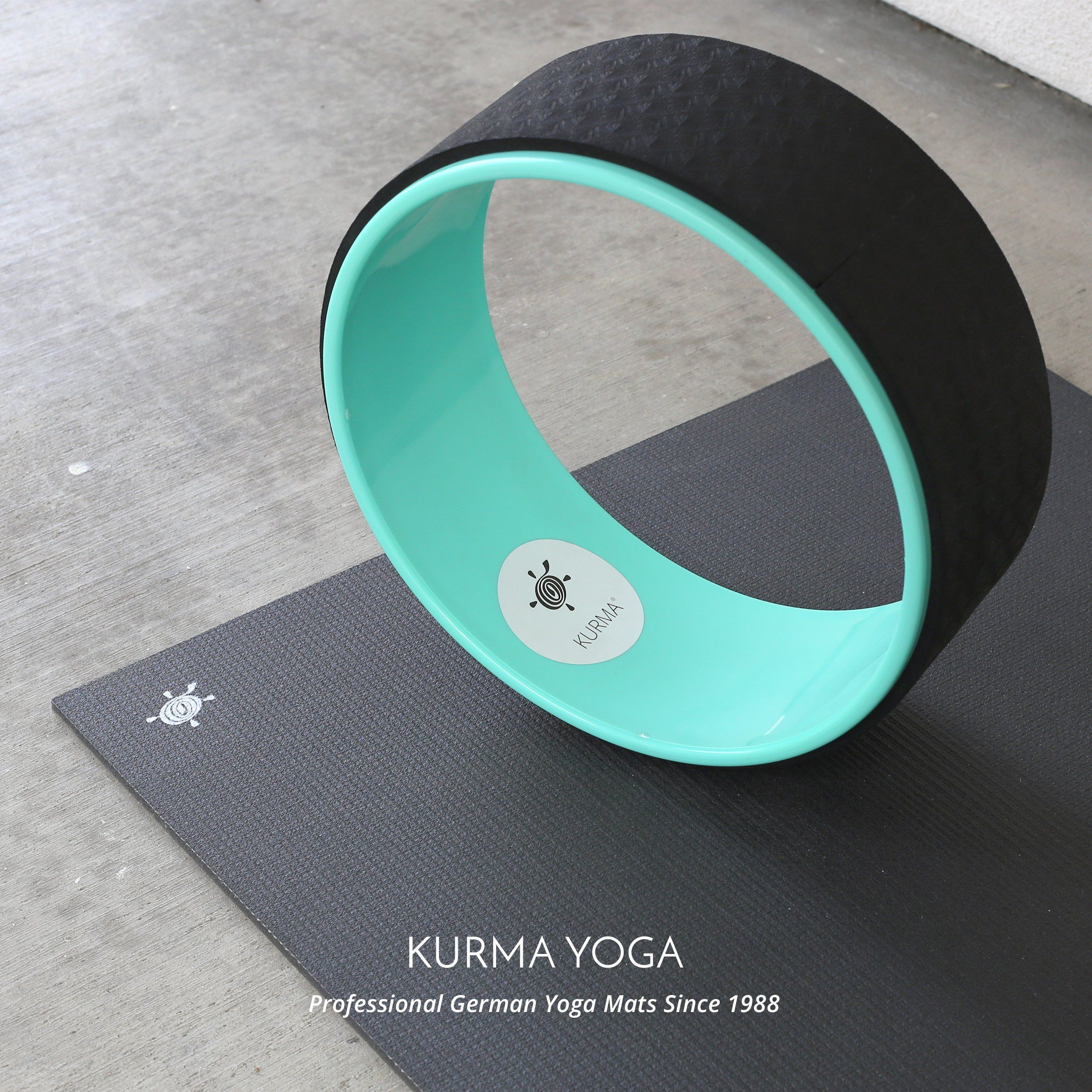 Yoga Wheel by Kurma - Extra Strength Prop with Premium Mat Material - Comfort & Safety in Backbends & Poses