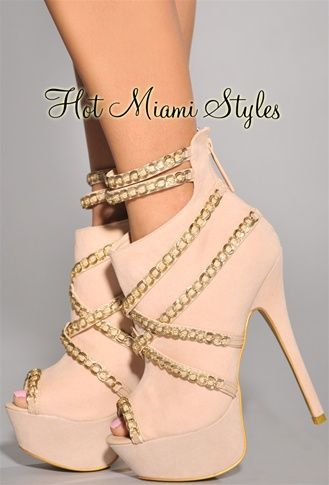 eb63c6a6798 Nude Gold Chain Decor High Heel Booties
