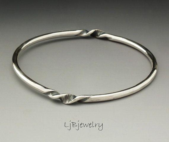 57088010630f0 Sterling Silver Solid Bangle Bracelet, Silver Stacking Bangle, Solid ...