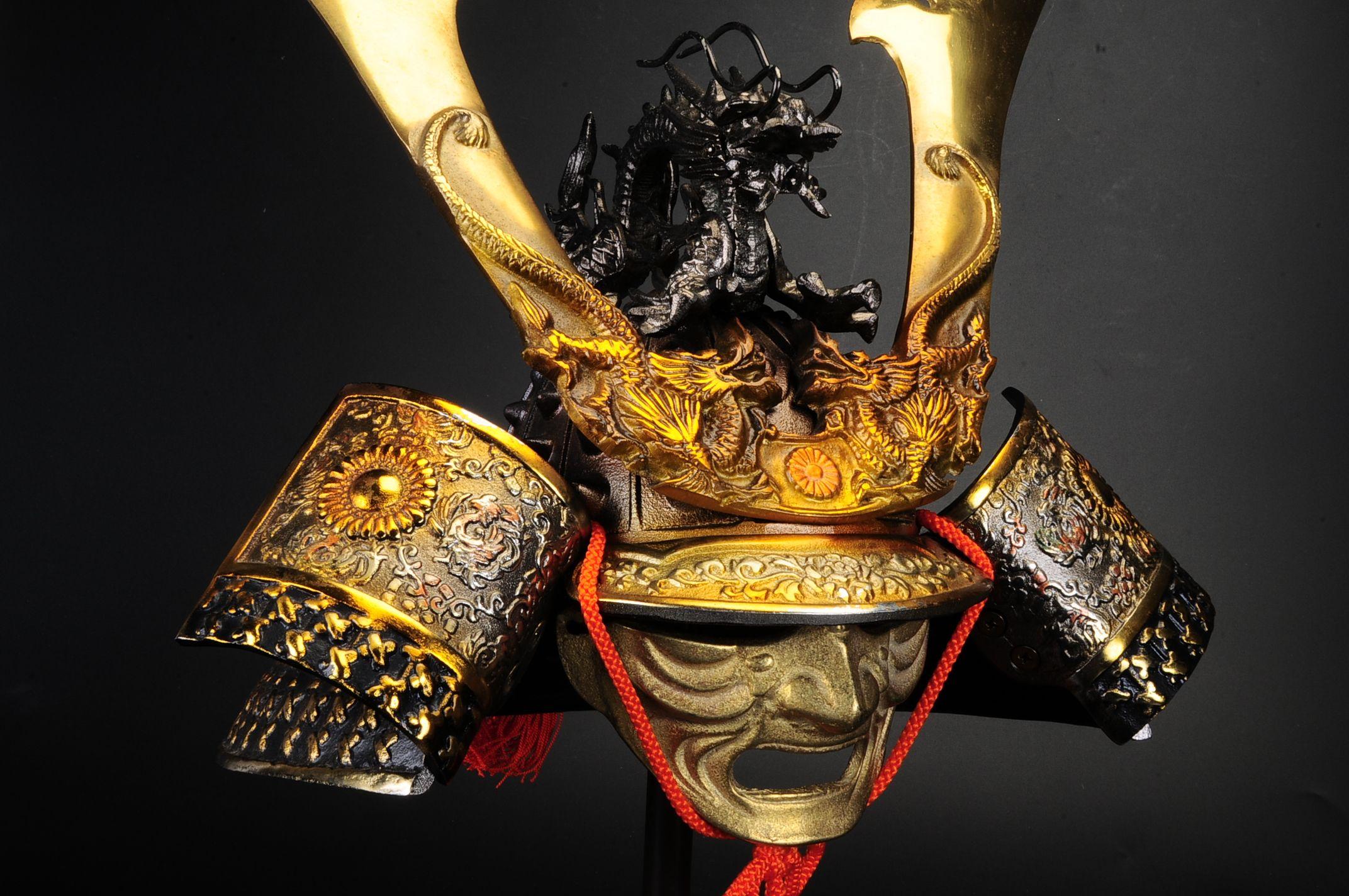 Japanese Dragon Mask Japanese Samurai Helme...