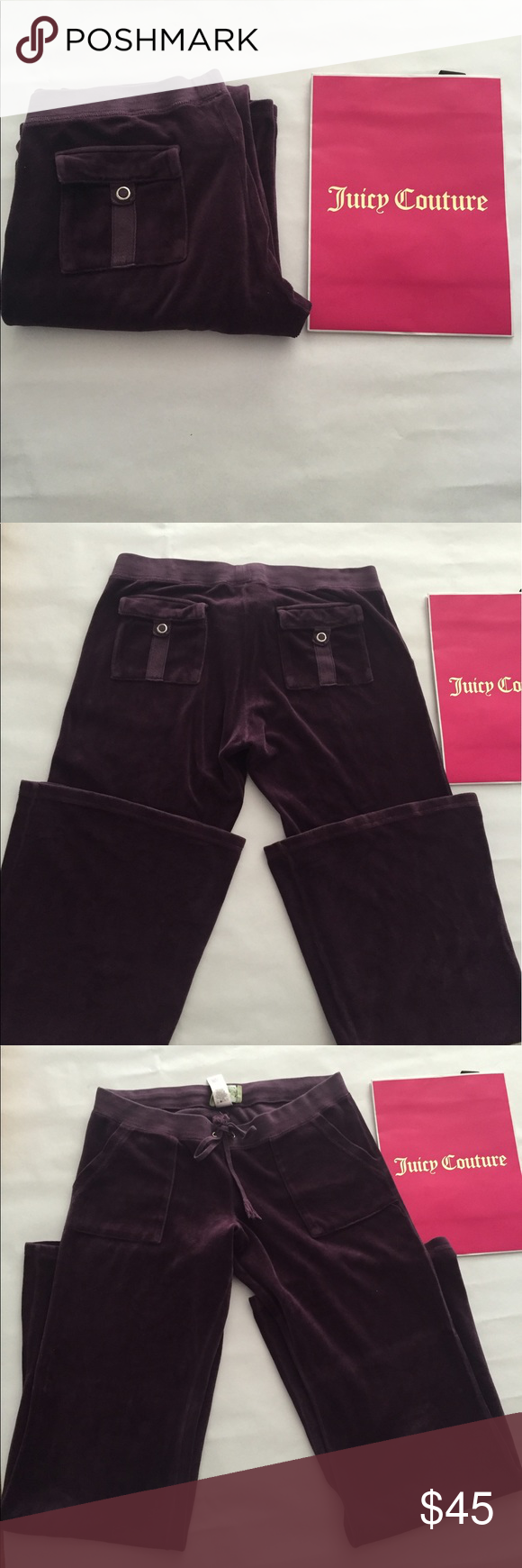 Juicy Couture velour lounge pants purple 🍒Sz L Oh how we missed you Juicy 🍒welcome back 🍒Juicy Couture made in USA purple  velour lounge pants with back pockets 🍒love back pockets 😍makes your butt look good 😍good condition see pics line from hanger appears I'll try washing them and see if it disappears doesn't take away from these like new lounge . Popular again ! Juicy Couture Pants Track Pants & Joggers