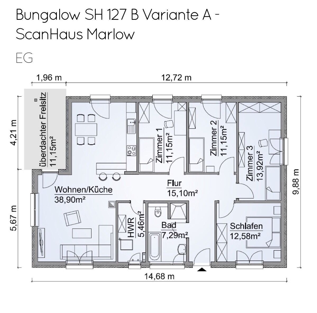 Grundriss Bungalow Barrierefrei Mit Walmdach Architektur 5 Zimmer 120 Qm Kuche Offen 3 Kinderzimmer Recht Bungalow Fertighaus Bungalow Grundriss Bungalow