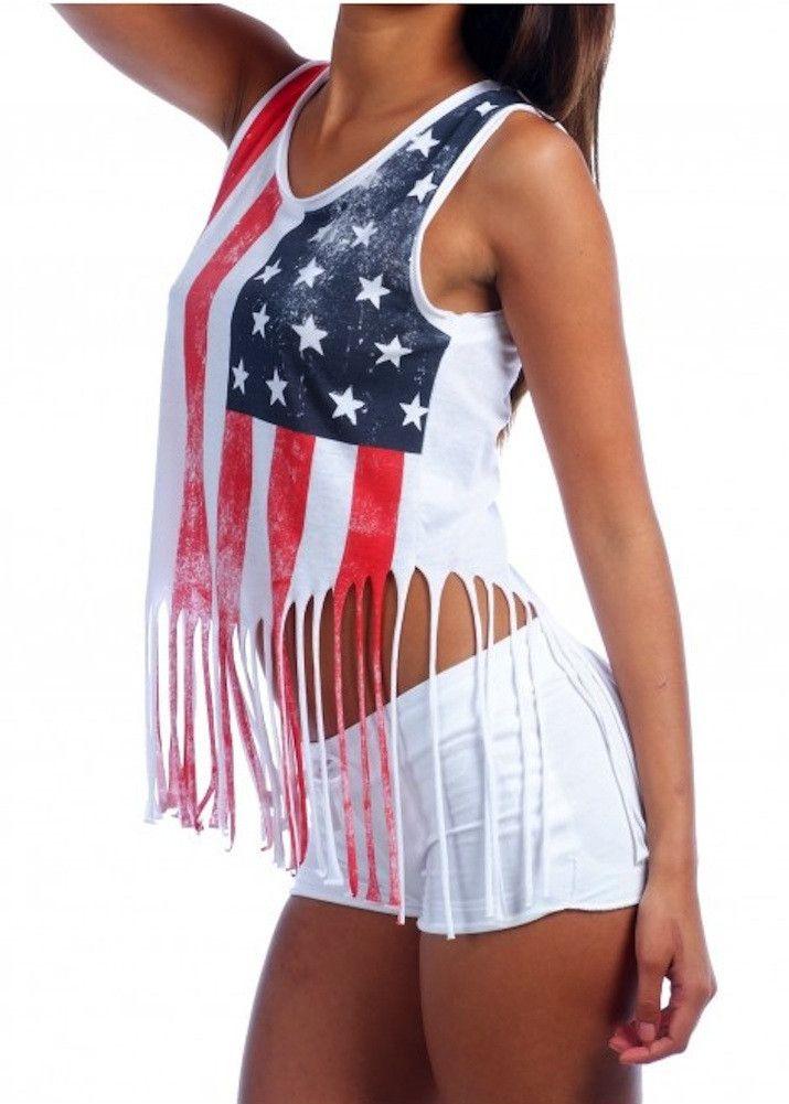 Ladies Shredded American Flag Tank Top Clothes Fashion Tank Top Fashion