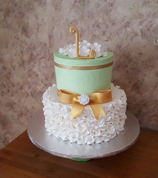 Mint Green White And Gold 50th Birthday Cake Cakes Pinterest