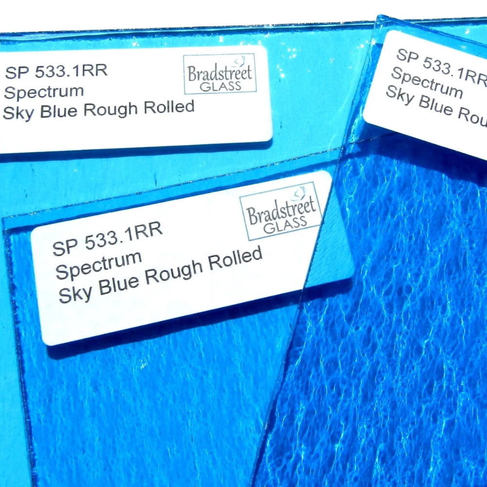Sky Blue Rough Rolled Stained Glass Sheet 96 Coe Oceanside Fusible Spectrum Sf533 1rr Stained Glass Spectrum Glass Mosaic Art Supplies