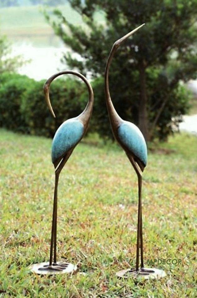 Stylized Crane Garden Pair Sculpture, Outdoor Bird Statues