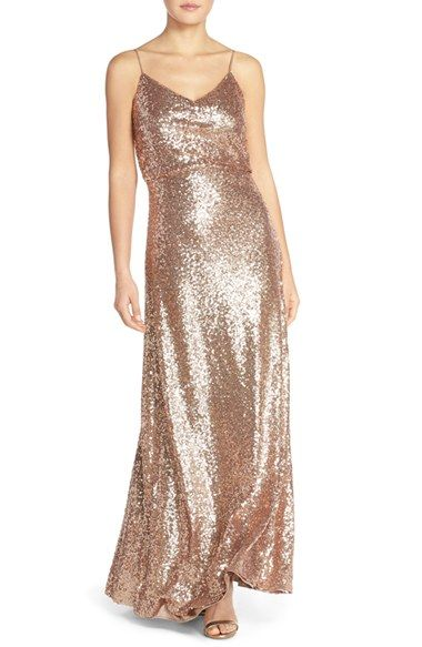 Jenny Yoo 'Jules' Sequin Blouson Gown with Detachable Back Cowl available at #Nordstrom