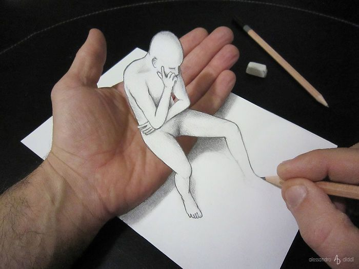 Italian Artist Brings His 3d Drawings To Life By Making Them Leap Off The Paper 3d Drawings Amazing Art Painting 3d Art Drawing