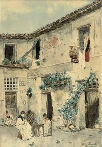 Sewing in the courtyard by Ettore Simonetti
