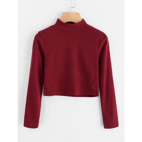351531caa86cf High Neck Ribbed Crop Sweater ( 9.99) ❤ liked on Polyvore featuring tops