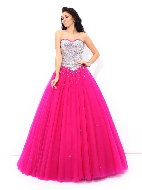 8530fafe954 Stylish Ball Gown Sweetheart Sleeveless Beading Long Satin Quinceanera  Dresses Prom Dresses For Sale