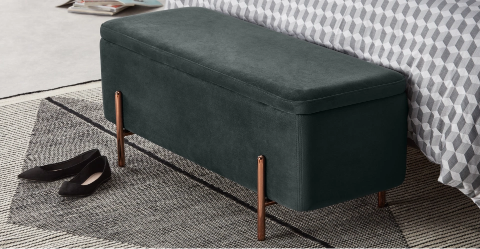 Asare Upholstered Storage Bench Midnight Grey Velvet Copper Storage Bench Upholstered Storage Storage Bench Bedroom
